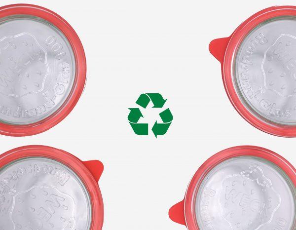 bocaux vu du dessus accompagné de l'icone de recyclage